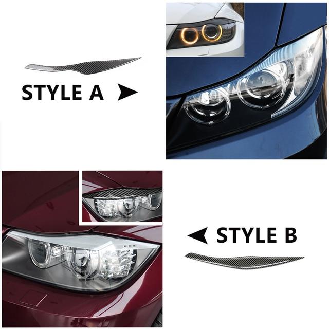 For BMW 3 Series E90 2005  2007 2008 2009 2010 2011 2012 2pcs Carbon Fiber Car Headlamp Headlights Eyebrows Eyelids Bumper Cover