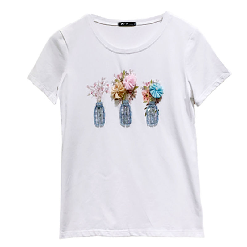 New Harajuku Tees Women T Shirt Female Shirts Tee Tops Casual White T-shirts With Stereo Flower Sequined Top