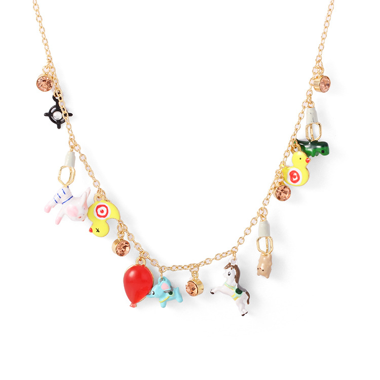 Free shipping enamel glaze Amusement park duck rabbit horse necklace