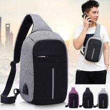 Для мужчин Anti Theft груди мешок мужской зарядка через usb Crossbody сумки на плечо s720-40 повседневное нейлон телефон Слинг Сумка