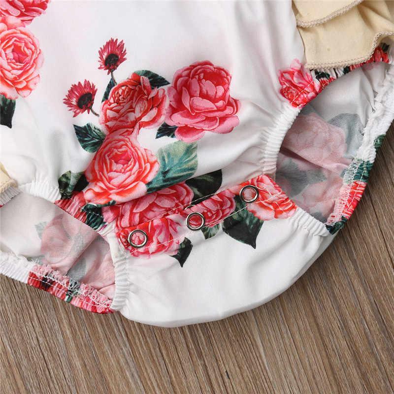 От 0 до 2 лет 2019 Новая Одежда для новорожденных платье для маленьких девочек без рукавов розовый цветочный принт платье для девочек комбинезоны спецодежда комплект одежды