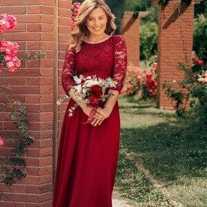 Image 5 - בתוספת גודל אמא של הכלה שמלת פעם די EP07412 אלגנטי אונליין שיפון 3/4 שרוול תחרה ארוך חתונת מפלגה שמלות