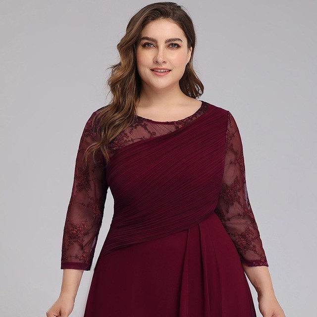 Bride Mother Dress Plus Size Evening Party Gowns 2019 Elegant Lace A-line Chiffon Long Sleeve O-neck Mother of the Bride Dresses 3