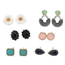 цены на 6 Pairs/Set Boho Women Faux Gemstone Square Round Flower Stud Earring Jewelry Rhinestone imitation Pearl Earrings for Women Gift  в интернет-магазинах