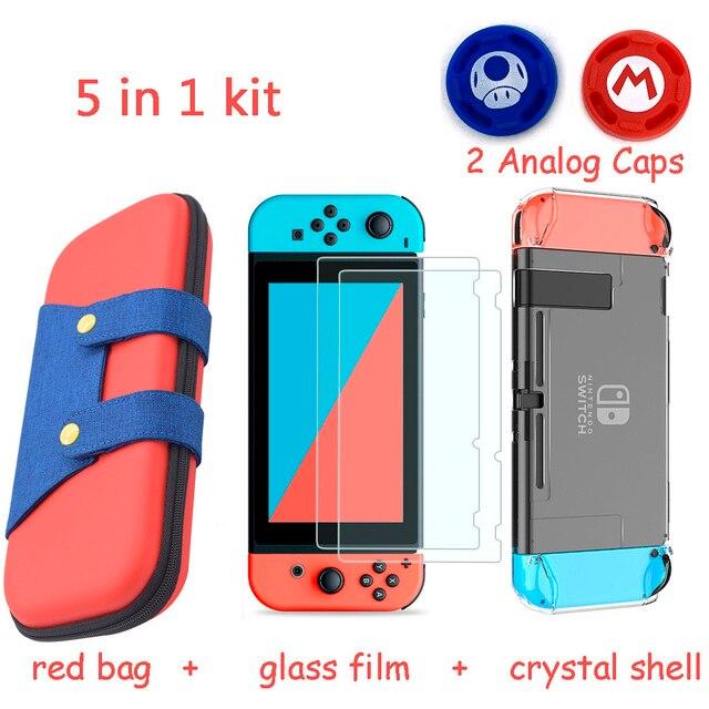 5 En 1 bolsa de almacenamiento para consola de juegos para Nintend Switch NS funda para Nintendo Switch + carcasa dura + templado película de vidrio + 2 tapas de agarre