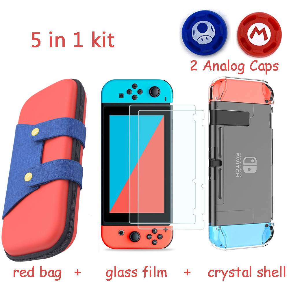 5 in 1 Gaming Console Storage Bag for Nintend Switch NS Case for Nintendo Switch +Hard Shell + Tempered Glass Film + 2 Grip Caps(China)