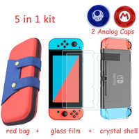 5 in 1 Gaming Console Storage Bag for Nintend Switch NS Case for Nintendo Switch +Hard Shell + Tempered Glass Film + 2 Grip Caps