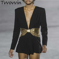 TVVOVVIN Womens Jumpsuit V Neck High Waist Patchwork Sequins Bowknot Wide Leg Playsuit Female Sexy 2019 Spring New E176