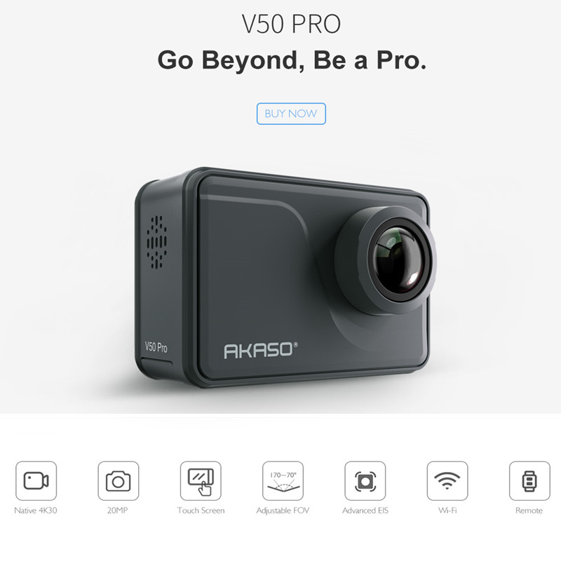 AKASO V50 Pro Native 4 K/30fps 20MP WiFi цифровая Экшн-камера EIS 30 м водонепроницаемая Спортивная go Helmet pro спортивная камера + Подарочная селфи-палка