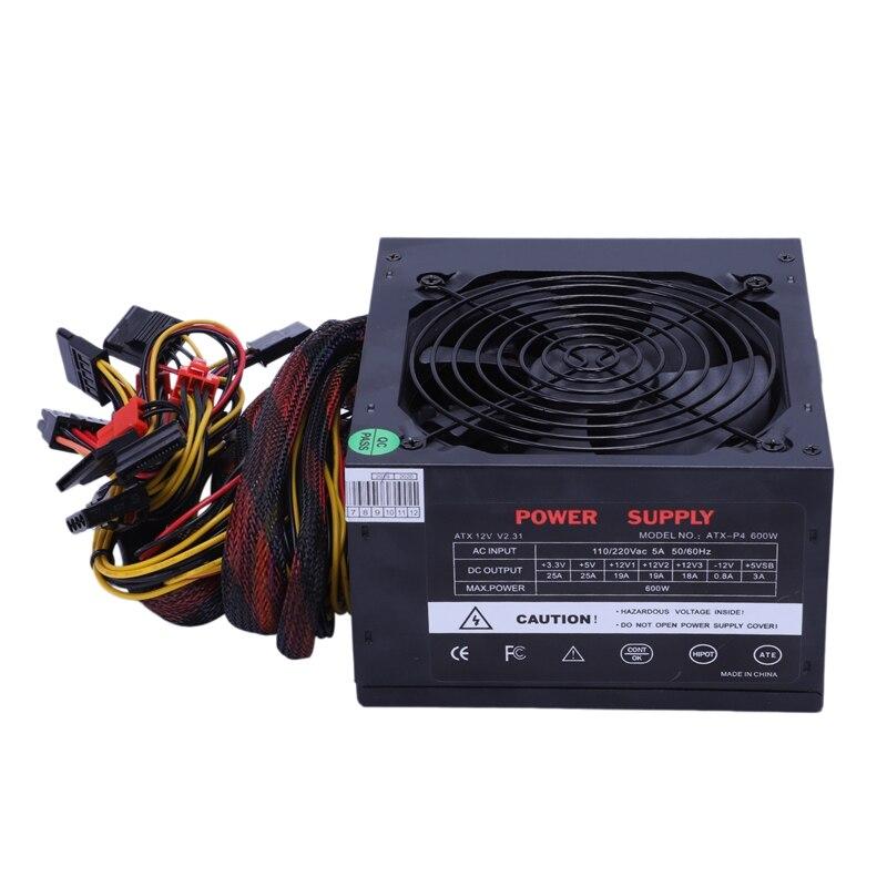 170-260V Max 600W alimentation Psu Pfc ventilateur silencieux 24Pin 12V Pc ordinateur Sata Gaming Pc alimentation pour Intel pour ordinateur Amd