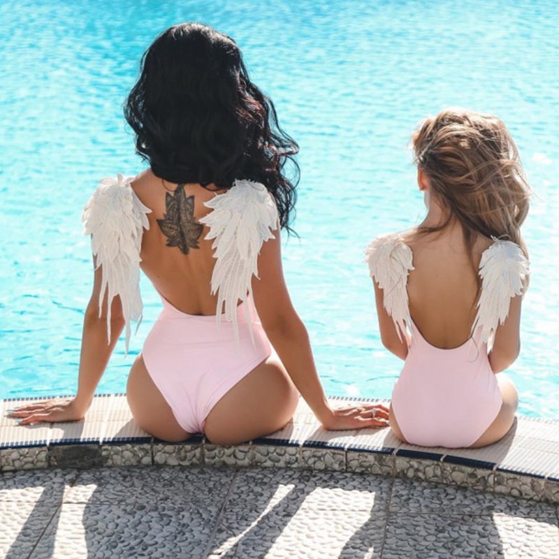 baff3cec8c Mommy And Me Matching Swimwear One piece Sexy Bodysuit Embroidery Wing  Bikini 2019 Swimsuit Women Children Beach Bathing Suits-in Matching Family  Outfits ...