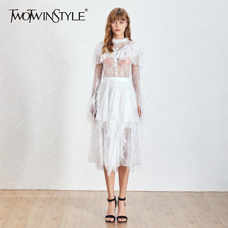 TWOTWINSTYLE Perspective Embroidery Patchwork Women Dress Flare Sleeve High Waist Irregular Midi Dresses Female 2019 Elegant