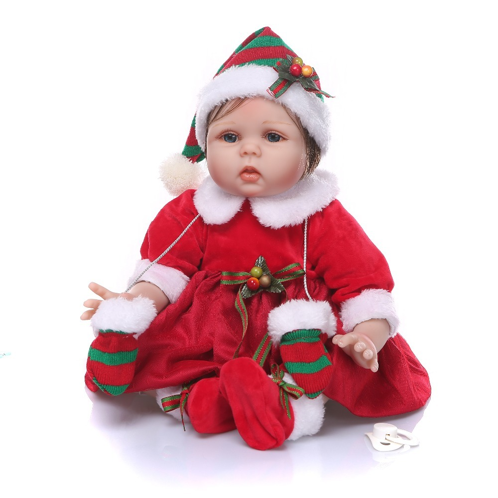 NPK 55cm Reborn Baby Doll Silicone Lifelike Toys Newborn Christmas Dress Girl Bebe Doll Xmas Gift Santa Claus Costume Doll^