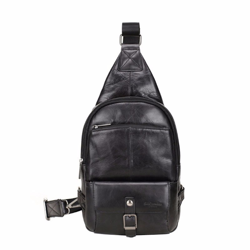 Vintage Sling Bag for Men Leather Back Pack Travel Hiking Motorcycle Bike Men s Messenger Shoulder