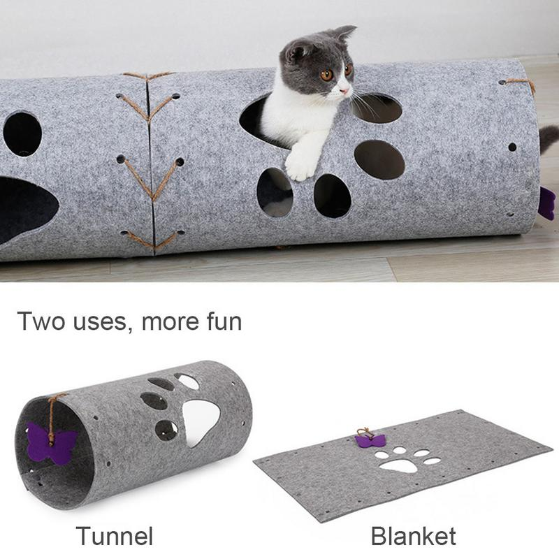 DIY Natural Air-permeable Felt Pet Activity Play Tube Folding And Splicing Tunnel Butterfly Cat Quick Delivery