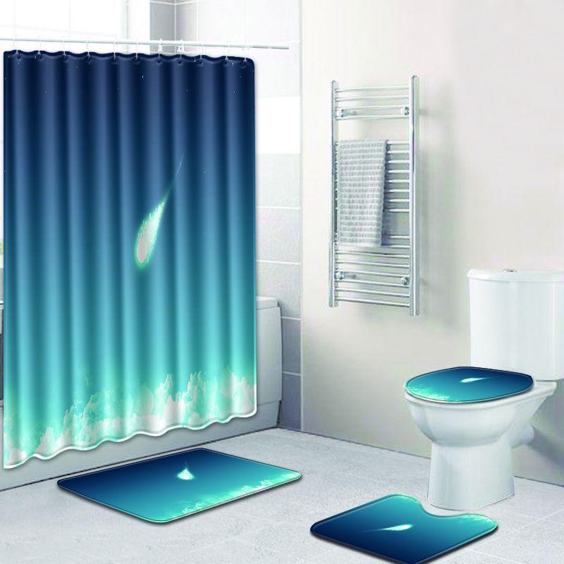 3D motifs étoilés tapis de douche 4 pièces ensemble rideau de douche + 3 pièces tapis de toilette Closestool tapis de salle de bain