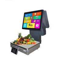New Fruit Shop 15kg Price Computing Weighing Scale with Double Touch Screen for POS Cash Register System