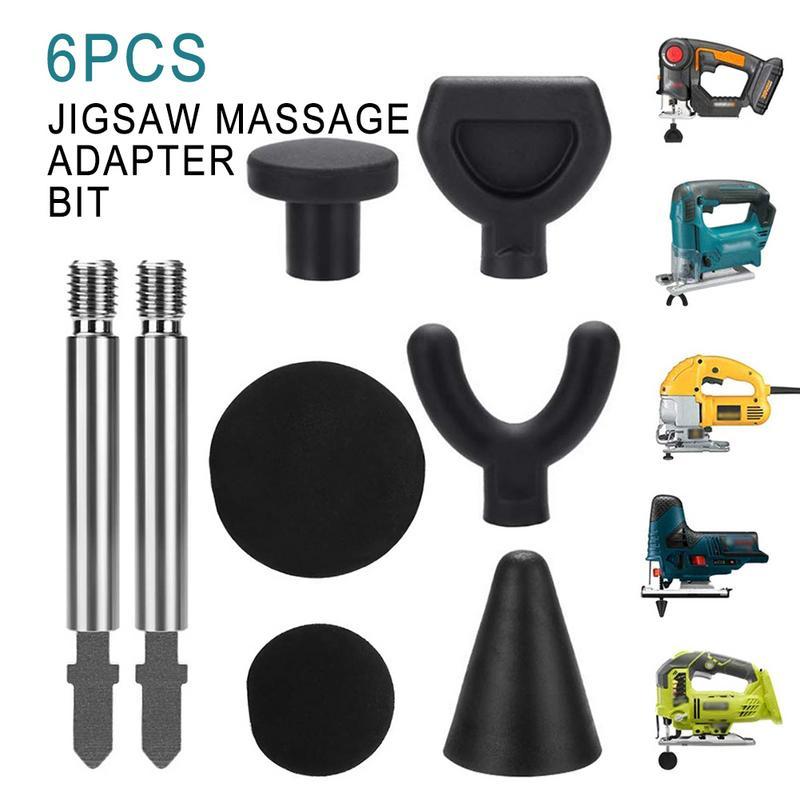 6PCS Jigsaw Massage Adapter Bit Percussion Befestigung Werkzeug für Tiefe Gewebe Trigger Punkt Massage Tipps mit 2 Stangen