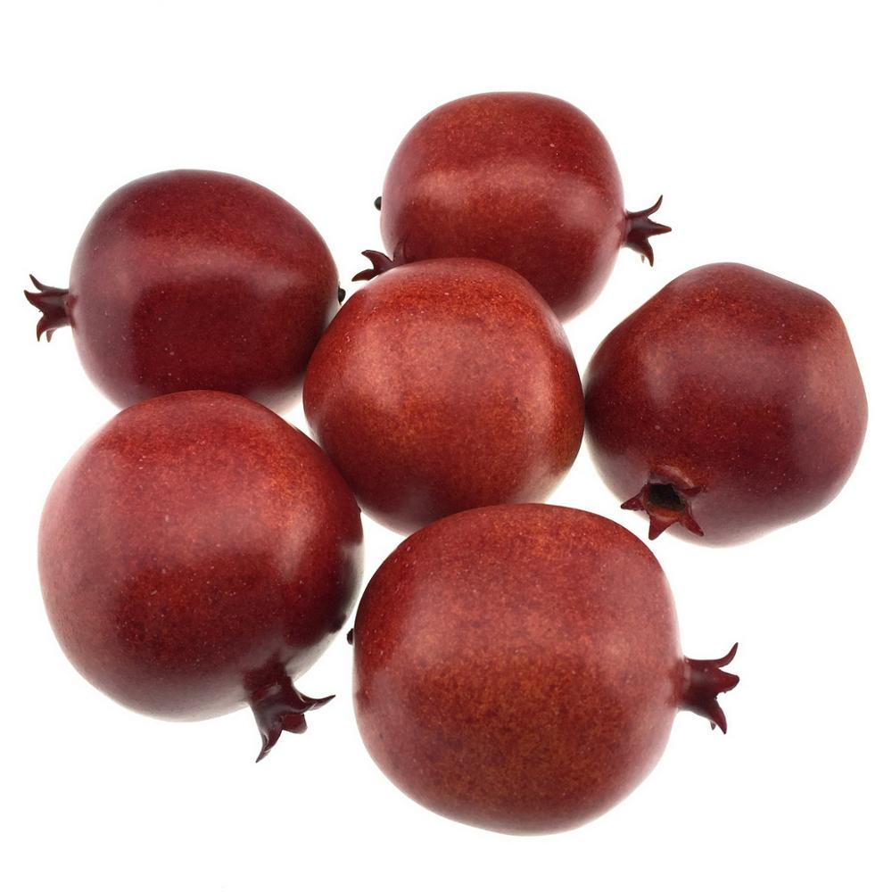 Gresorth 6pcs Lifelike Artificial Pomegranet Decoration Fake Pomegranate Fruit Home Party Kitchen Festival Show