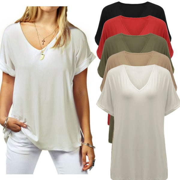 Plus Size Casual Women T Shirt Short Sleeve V Neck Ladies Tee Shirts Leisure Cotton Basic Tshirt Loose Tee Tops For Women Summer