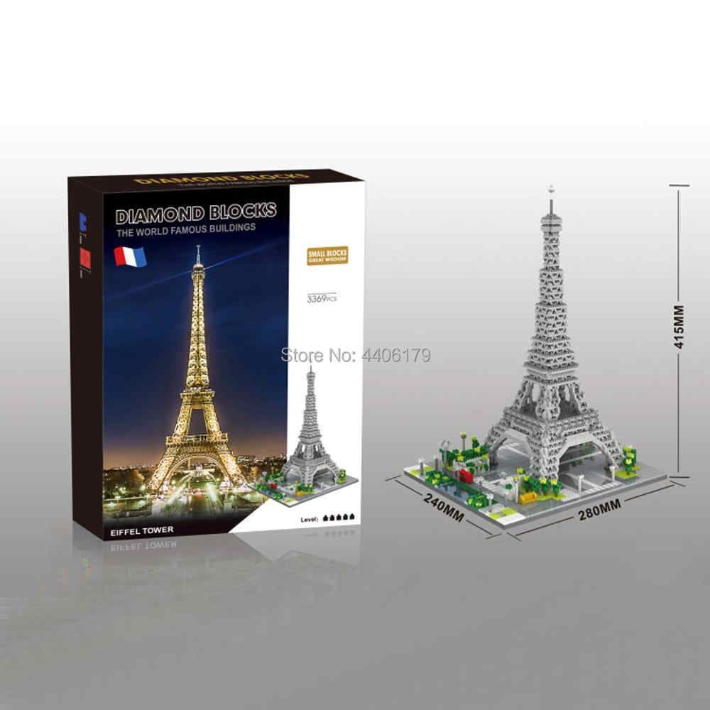 hot LegoINGlys creators famous city Street view MOC Eiffel Tower Paris France micro diamond building block model brick toys gift
