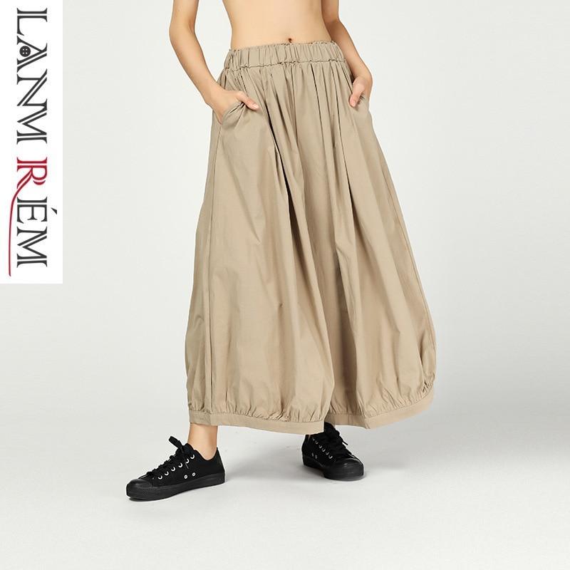 LANMREM 2019 New Summer Bottoms Ankle-Length Pants Fashion Women Cloth Vintage Loose Elastic Waisc Wide Leg Pants Vestido ZA458