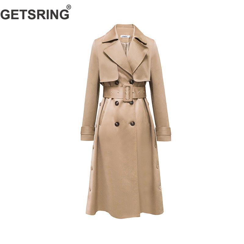 GetSpring Women Trench Coat Long Sleeve Lace Up Long Coat Spring Female Overcoat Double Breasted Coat All Match Women Coats 2019