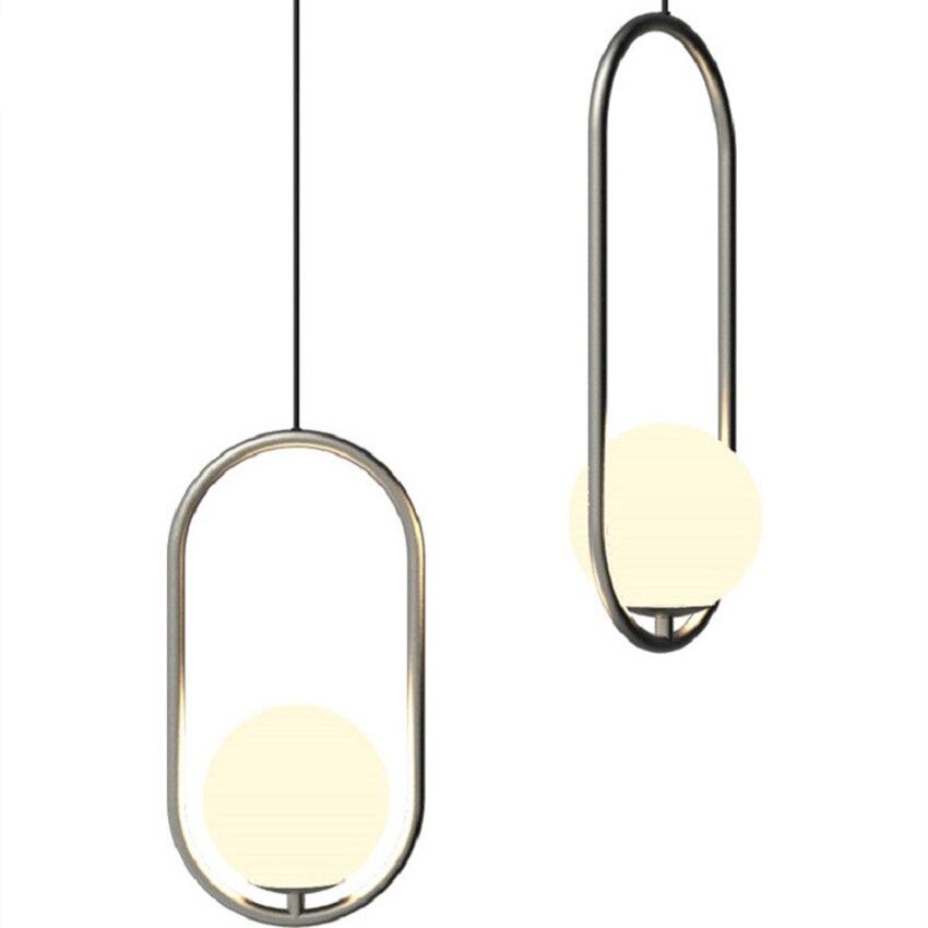 Modern Silver/Gold Glass Ball Pendant Lamp Living Room Restaurant Bedroom Bar Led Light Fixtures Luminaria Lighting