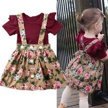 3PCS Infant Baby Kids Girls Floral Short Sleeve Romper+Suspender Skirt Headband Outfit Set 0-24M