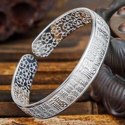 New Pure S999 Sterling Silver Bangle Cuff Women Lucky  Bracelet 39-41gNew Pure S999 Sterling Silver Bangle Cuff Women Lucky  Bracelet 39-41g