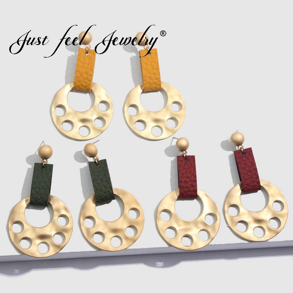 JUST FEEL Fashion Punk Long Drop Earrings For Women Round Gold Color Dangle Geometric Leather Earrings Vintage Bohemian Jewelry