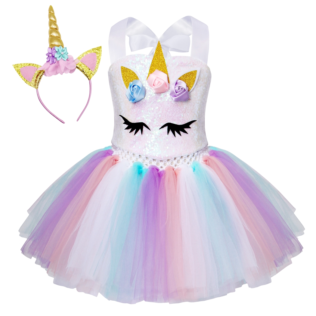 AmzBarley Baby Girl Unicorn Costume Tutu dress Pageant Flower Princess Dresses kids Birthday Party Cosplay Outfits With Headband