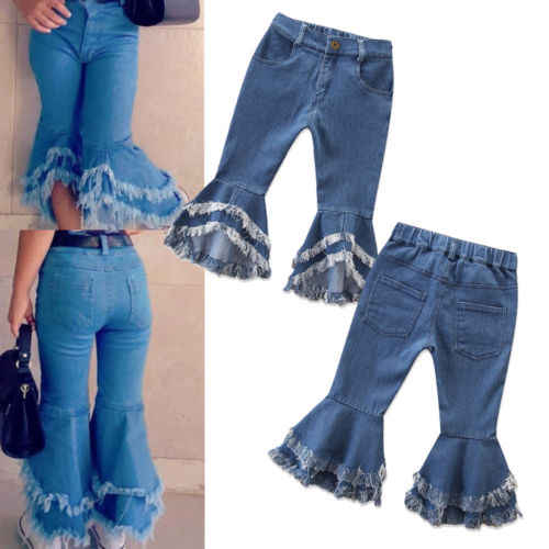 6c1bcb7c151 2019 Fashion Infant Denim Flare Pant Girls Jeans Long Pants Toddler Denim  Ruffle Flare Pants Trousers