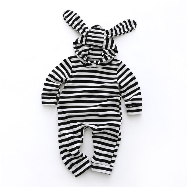 c48335fccdd2 2019 Spring Easter Newborn Infant Baby Boy Girl Kids Rabbit Hooded Romper  Jumpsuit Clothes Striped Cute Bunny Outfit