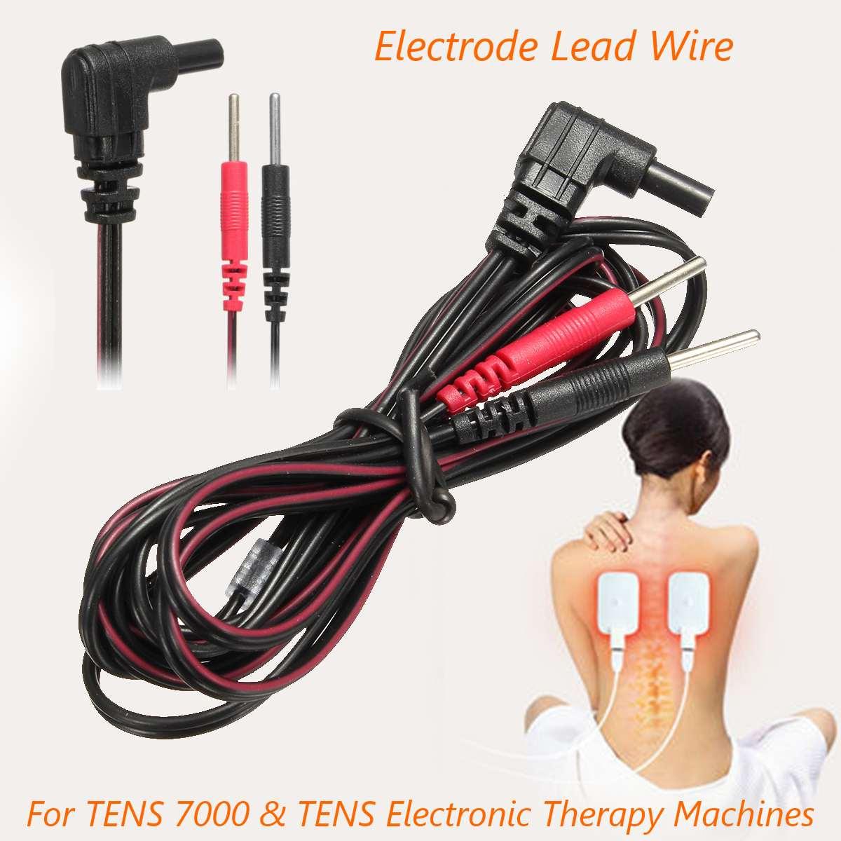 1 Pc Ersatz Elektrode Blei Drähte Standard Pin Anschluss Kabel 2mm Kompatibel Für ZEHN 7000 Digitale Therapie Massage Maschine