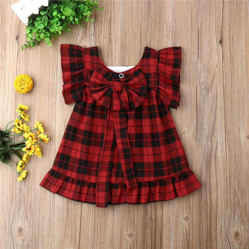be399db57e1 ... Fashion Plaid Toddler Kids Baby Girls Bow Princess Party Dress Sundress  Clothes New Baby Girl Clothes ...