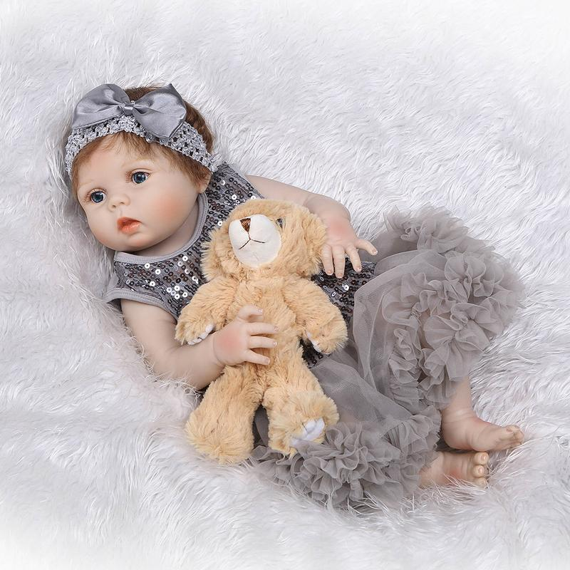 56cm Full Silicone Body Reborn Baby Doll Toy Girl Newborn Princess Babies Bebe Bathe Accompanying Toy Birthday Gift