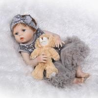 56cm Full Silicone Body Reborn Baby Doll Toy Girl Newborn Princess Babies Bebe Bathe Accompanying Toy Birthday Gift