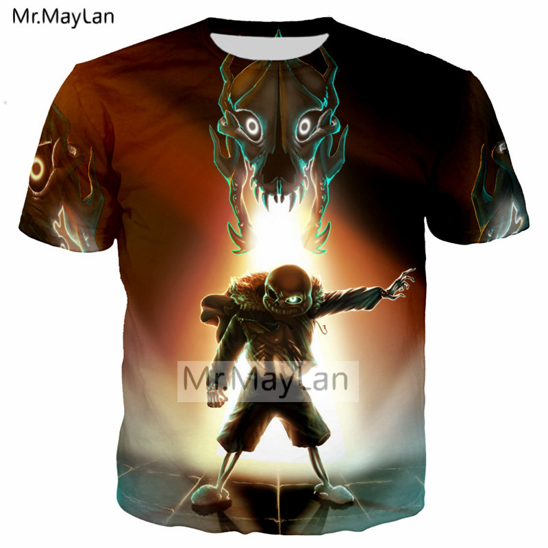 Cool New Design Game Undertale Sans 3D Print Hip Hop T shirt Men Casual Streetwear T-shirt Tee Boys Fashion Tshirt Mens Clothes