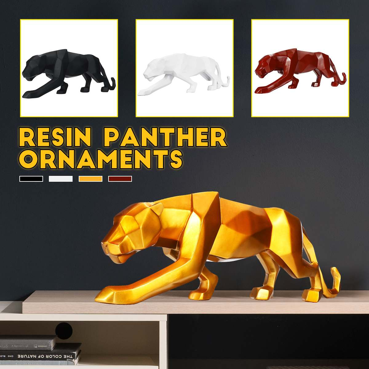 S/L Modern Abstract Black Panther Resin Sculpture Geometric Resin Leopard Statue Crafts Wildlife Art Decor Gift