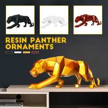 S/L Modern Abstract Black Panther Resin Sculpture Geometric Resin Leopard Statue Crafts Wildlife Art Decor Gift(China)