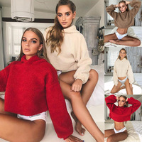 Autumn 2019 New Women Hooded Knitted Sweater Pullover Loose Casual Short Knitwear Jumper Streetwear Sexy Red Sweater Women Tops