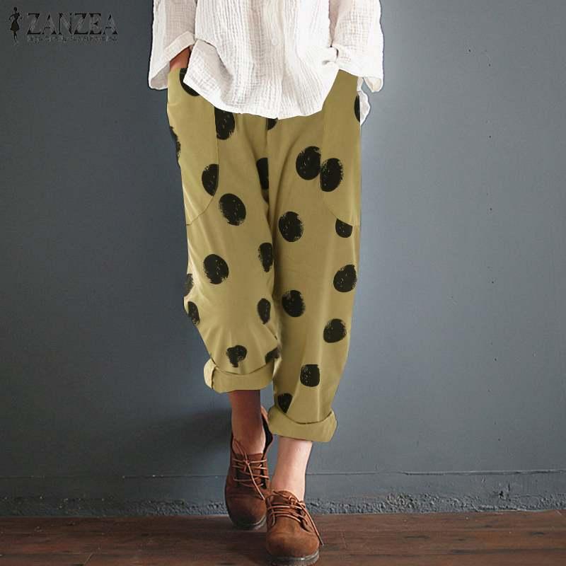 2019 Fashion Zanzea Pants Women Dot Printed Pockets Harem Pants Ladies Cotton Long Trousers Pantalon Femme Work Office Pants 5xl