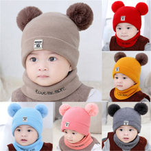 2 Pieces Baby Beanies Cap Set Baby Kid Solid Color Plush Ball Baby Girls Hat And Scarf Set Winter Warm Caps For Boys Newborn Hat(China)