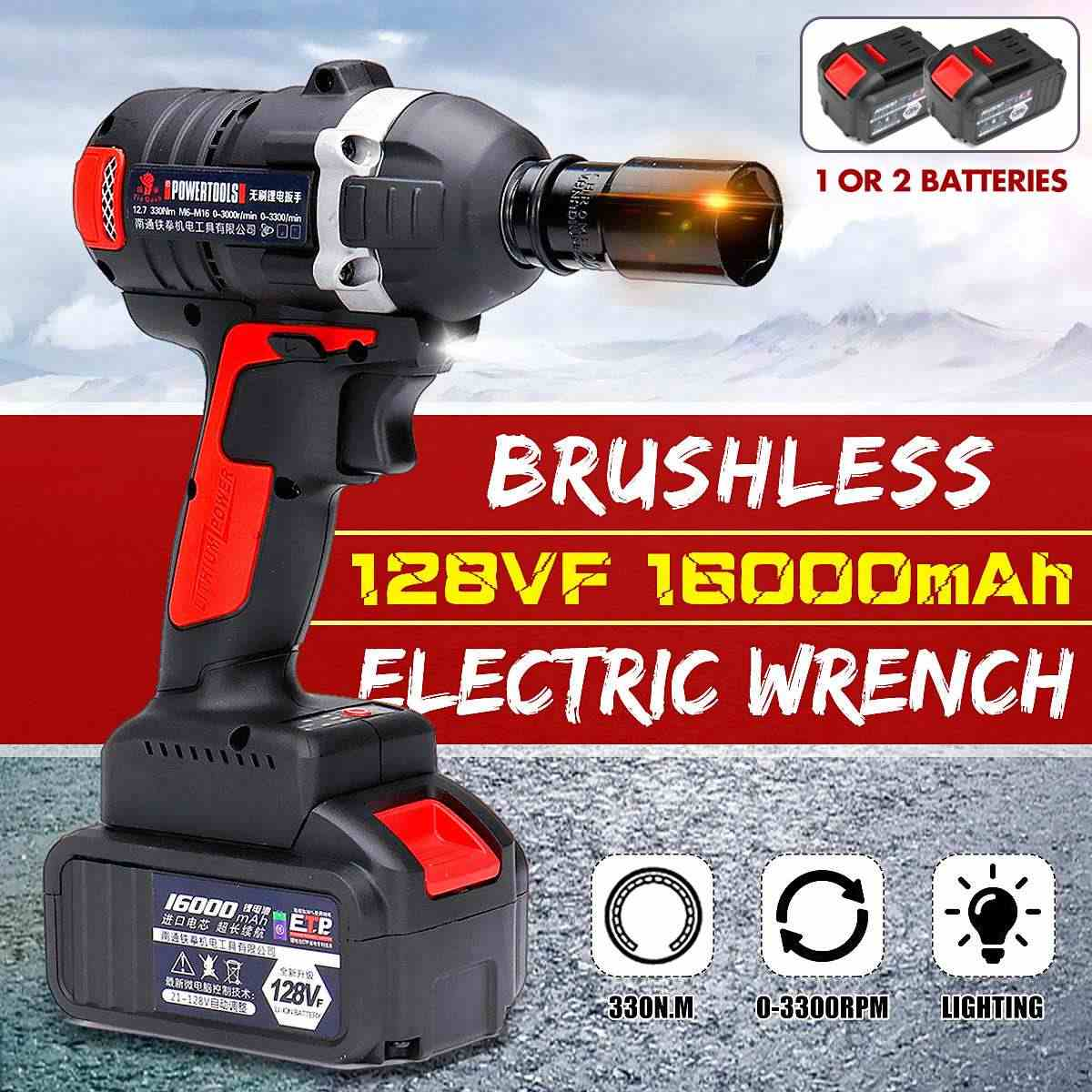 128V 16000mah Brushless Motor Cordless Electric Wrench 330N.m Torque Household Car Wheel Socket Wrench Hand Drill Power Tools