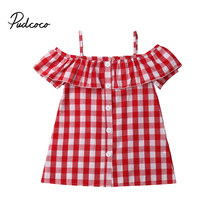 Baby Girls Plaid off shoulder Short Sleeve Ruffle Princess Blouses Shirts for Children Clothes Kid Toddler Clothing 1-6Y(China)