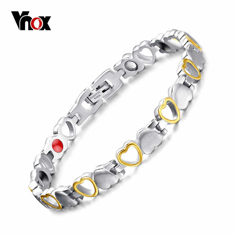 Vnox Vintage Heart Bracelet Bangle Magnet Germanium Stone Health Care Women Jewelry Adjustable Size