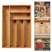 Non Retractable Bamboo Drawer Storage Box Tableware Storage Box Kitchen Drawer Organizer Groceries Storage Boxes Kitchen Tools