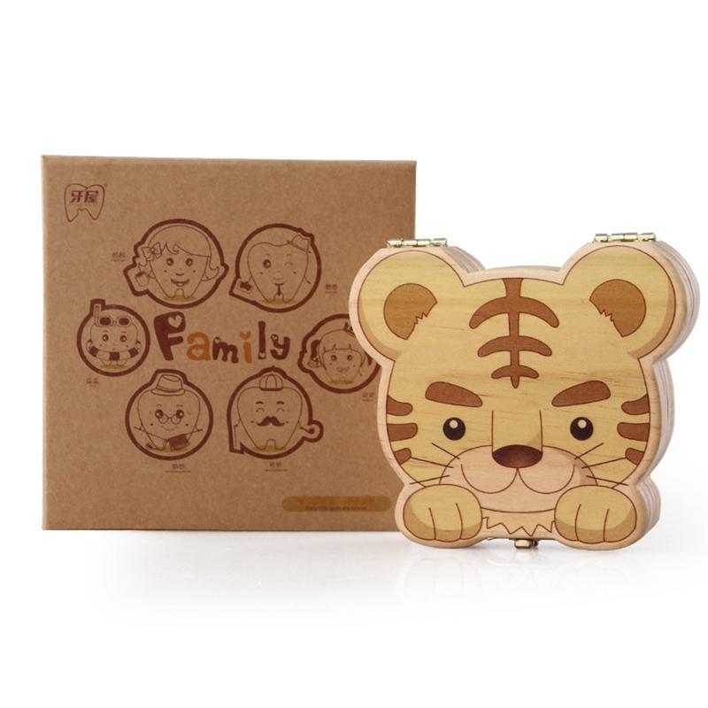 Cute Naughty Tiger Shape Wooden Personality Tooth House Baby Souvenir Deciduous Box Baby Hair Box Organizer Birthday Gift