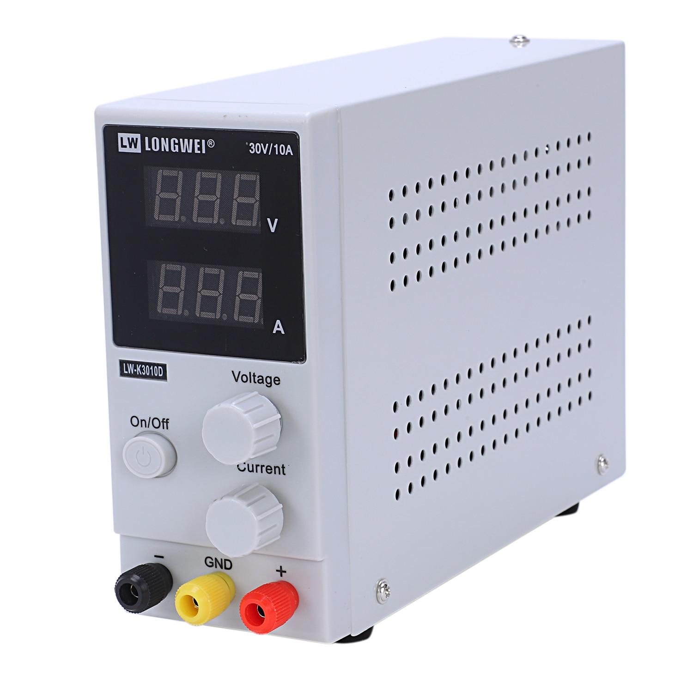 High precision 30V 10A LW K3010D Switching Regulated DC Power Supply LCD Dual LED digital Display EU Plug + English Instruction